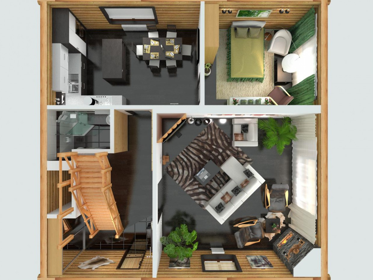Wooden 2 stories house in modern style  in  3d max   vray  image