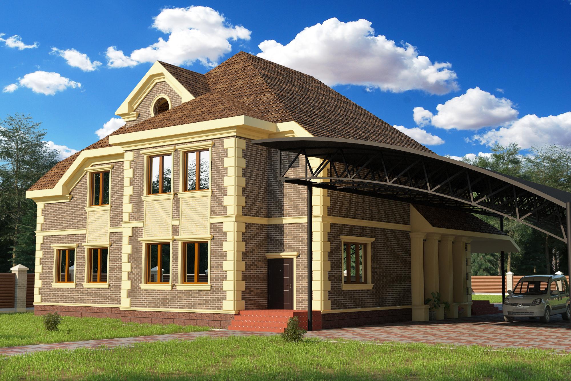 आधुनिक क्लासिक्स की शैली में घर 3d max vray 3.0 में प्रस्तुत छवि