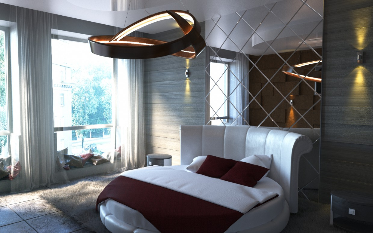 Bedroom for adults (course project) in 3d max corona render image