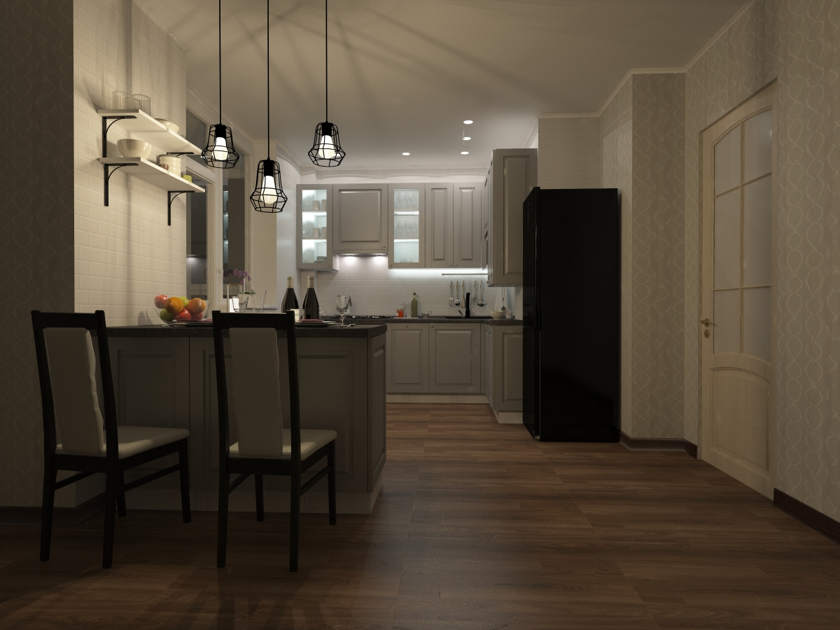 classic modern kitchen in 3d max vray 3.0 image