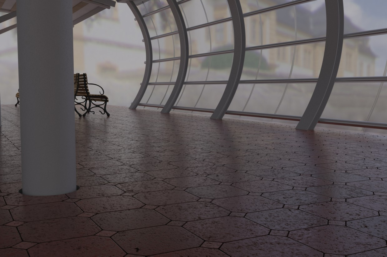 Station in 3d max vray image