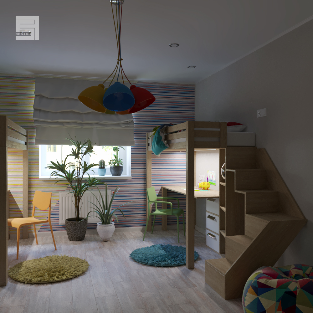 room for two children / room for two children in 3d max corona render image