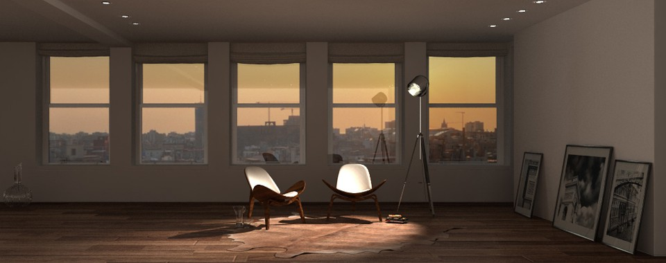 3d visualization of the project in the Sunset in my loft... Cinema 4d, render Other of eloisa.conti