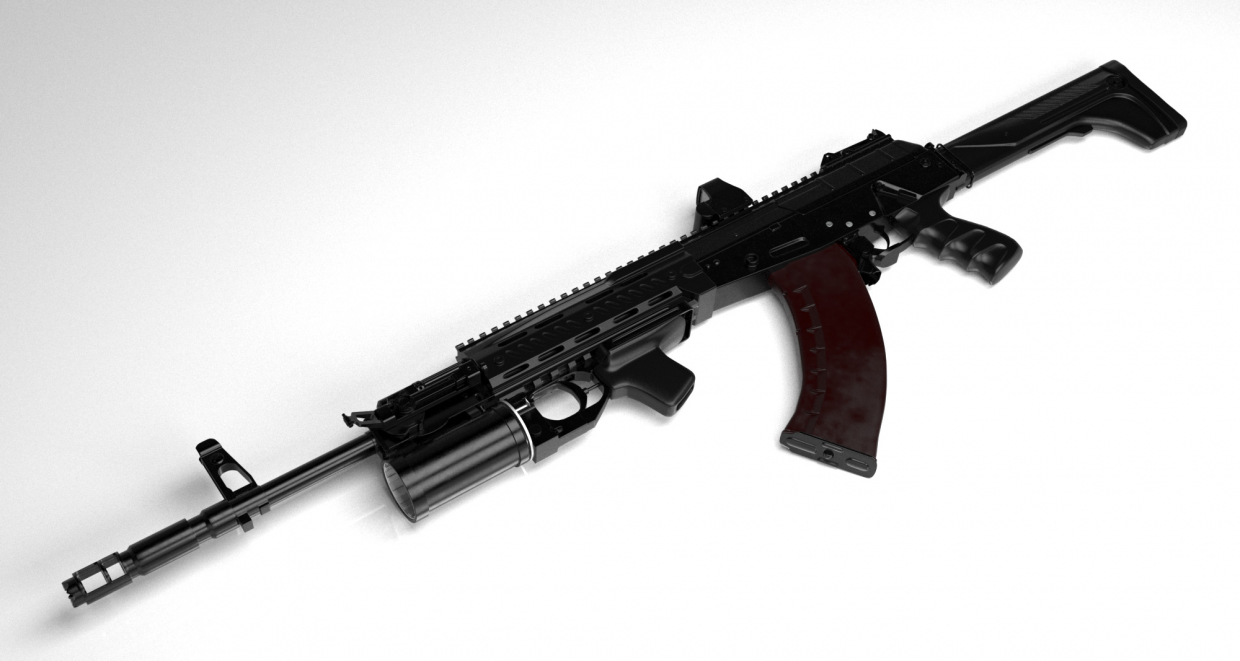 Hipoly model of AK-12 automatic gun early version in 3d max vray 2.0 image