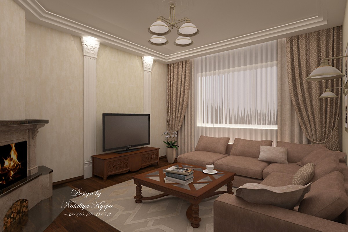 Living room (fireplace) in 3d max vray image