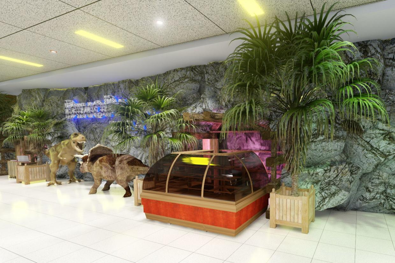 अगले मॉल में डिनो-पार्क के फ़ोयर में से एक की त्वरित प्रस्तुति। (वीडियो संलग्न) Cinema 4d Other में प्रस्तुत छवि