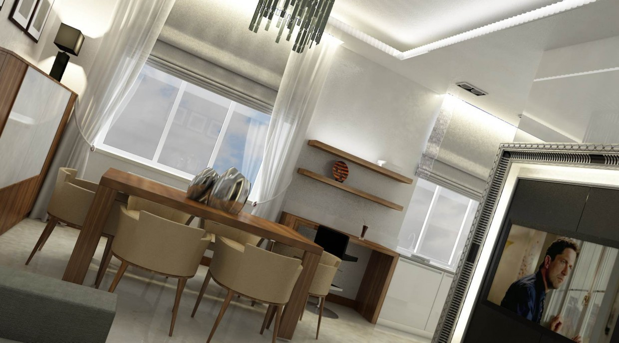 The living-dining-kitchen in 3d max vray image