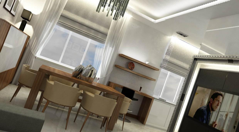 Гостиная-столовая-кухня в 3d max vray изображение