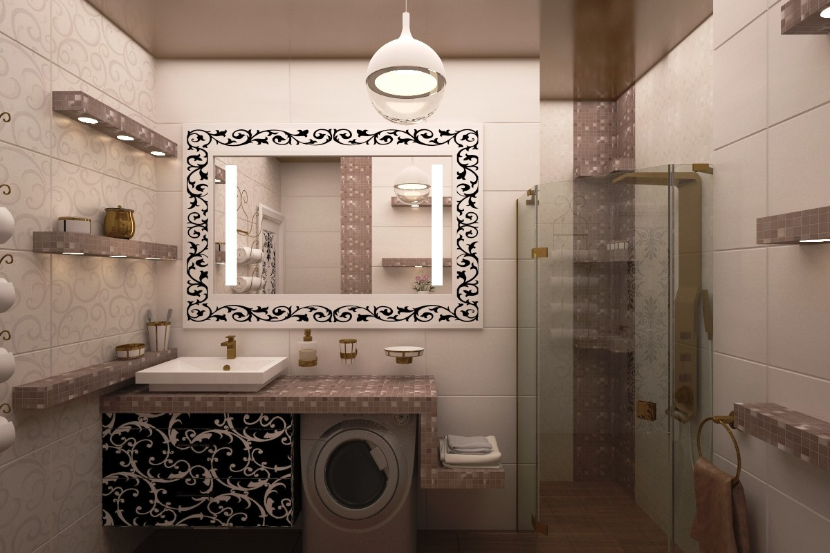 3d visualization of the project in the A bathroom 3d max, render vray of julyrar