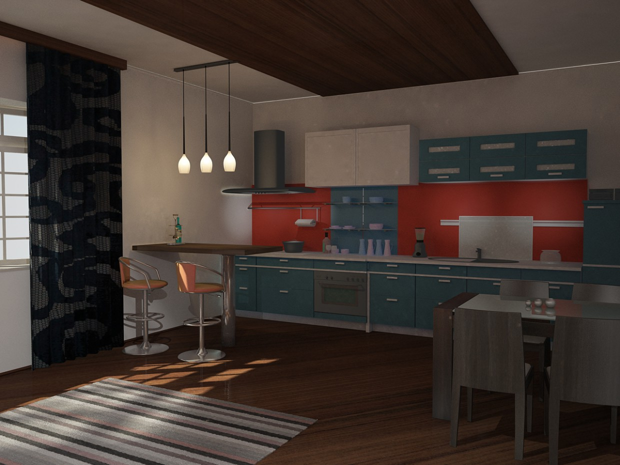 Kitchen - dining room in 3d max vray image