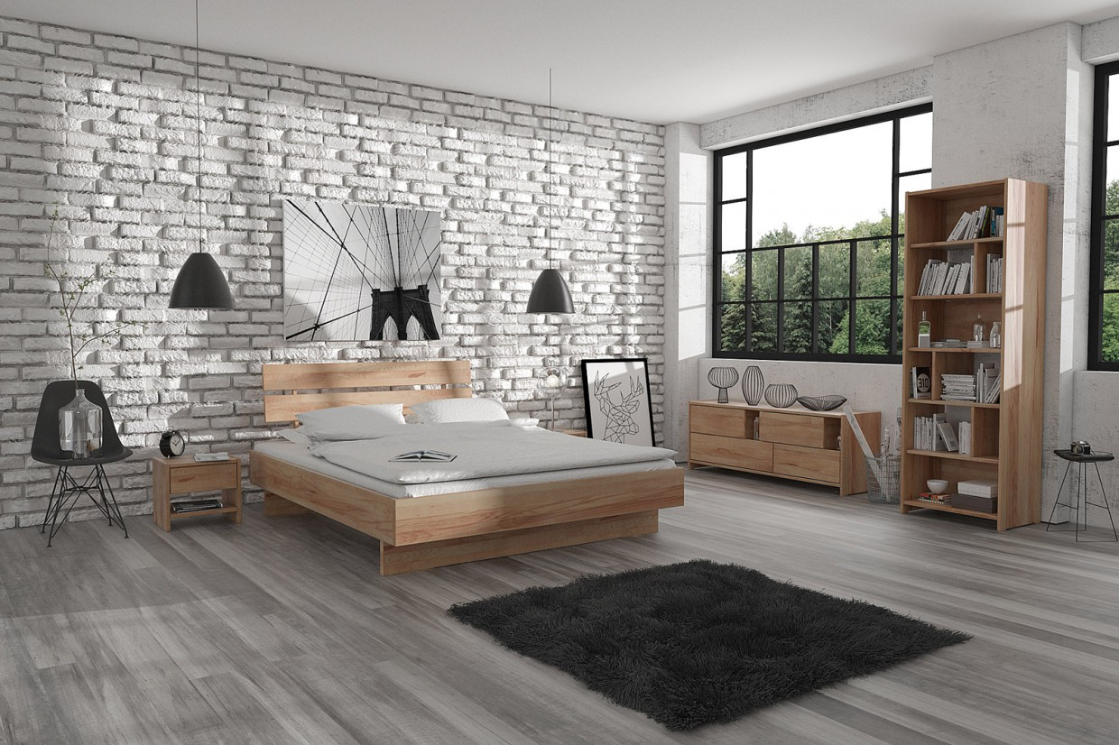 3d visualization of the project in the Urban Scandinavian Bedroom 3d max, render vray 3.0 of Maciej Górny