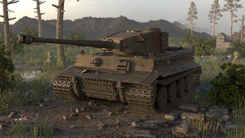 "Танк ""Тигр"" в 3d max corona render изображение"