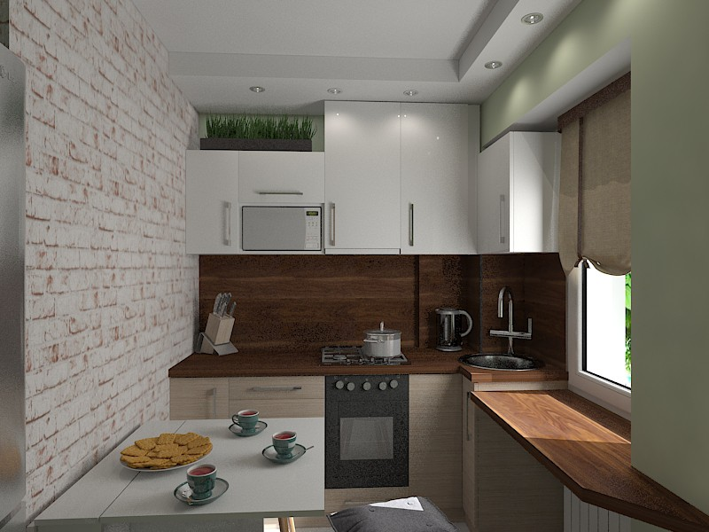 A very small kitchen in 3d max vray image