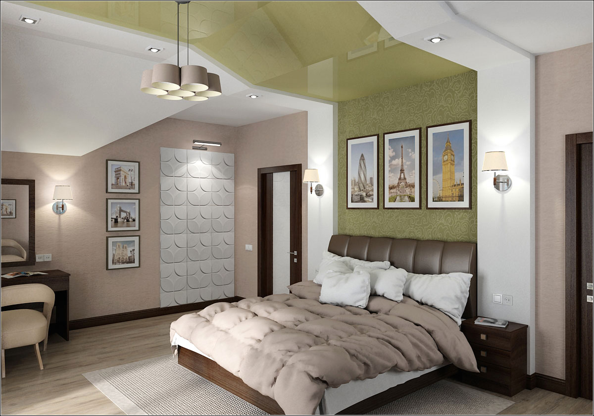 3d visualization of the project in the Interior design of the bedroom in the attic in Chernigov 3d max, render vray 1.5 of OLEG