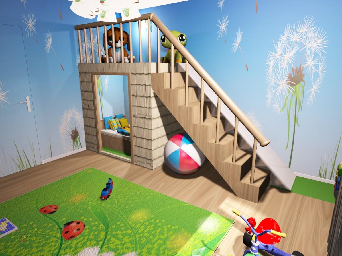 Детская комната в 3d max vray изображение