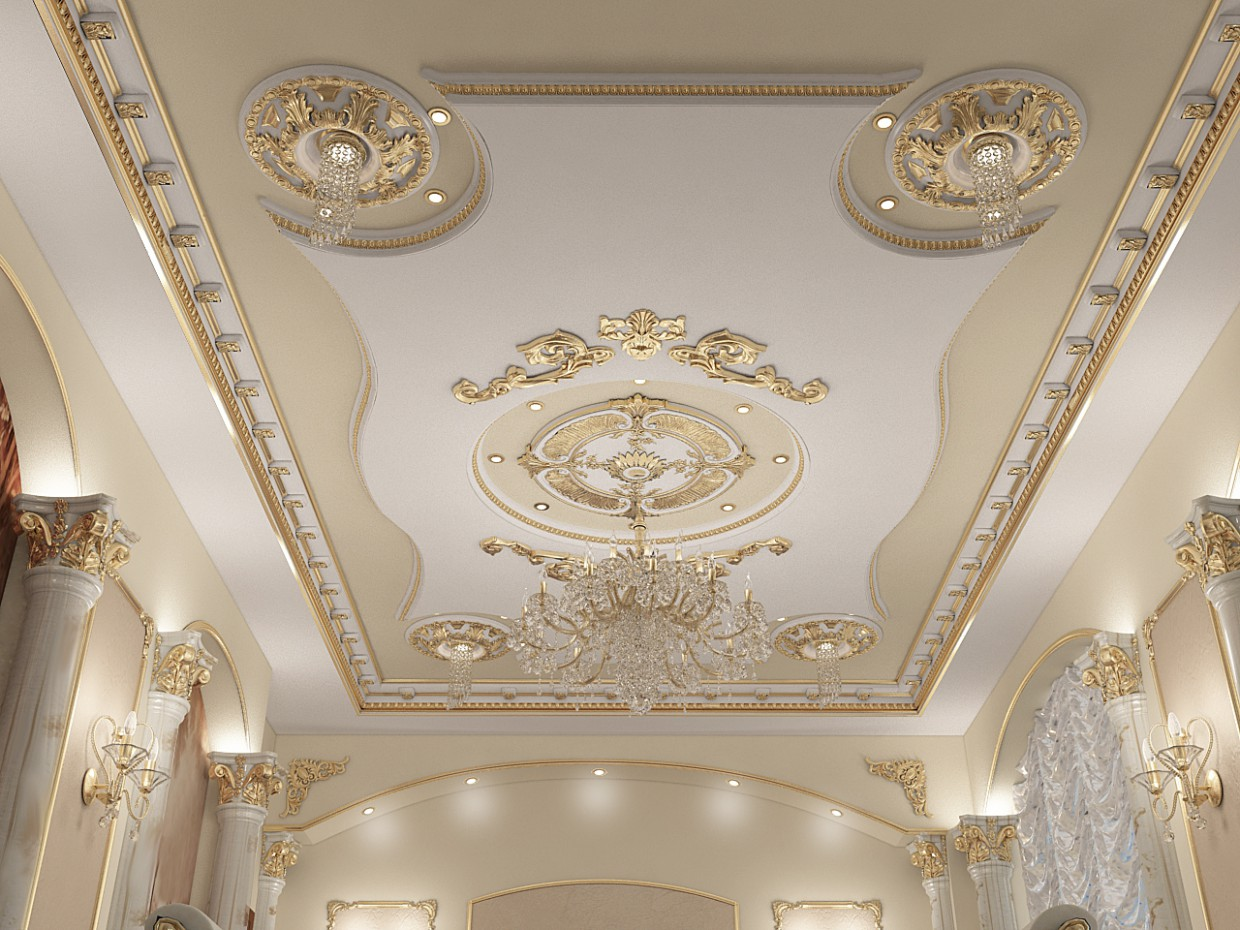 3d visualization of the project in the The ceiling in the Hall 3d max, render vray of Alyona