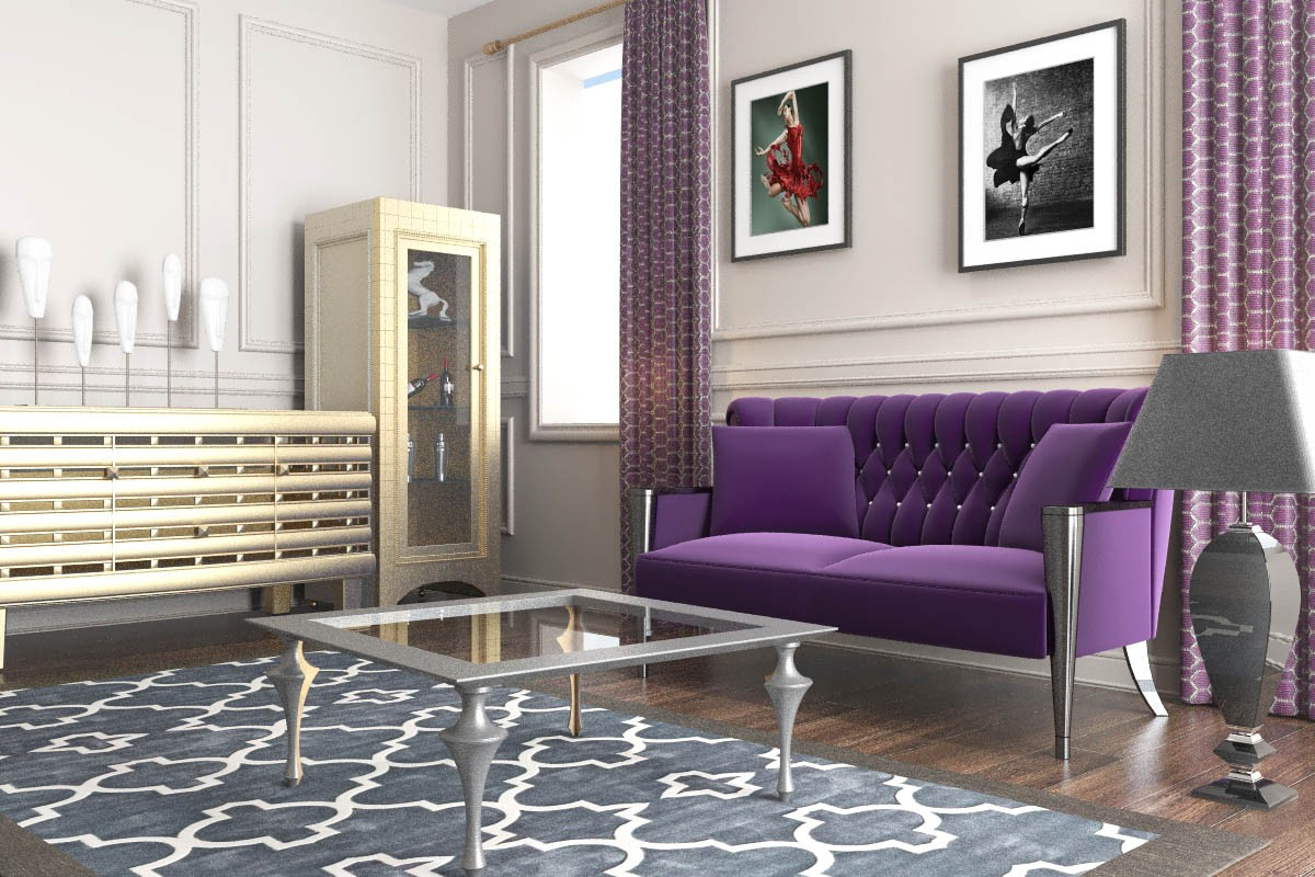 3d visualization of the project in the Purple sofa 3d max, render vray 2.0 of jupiter