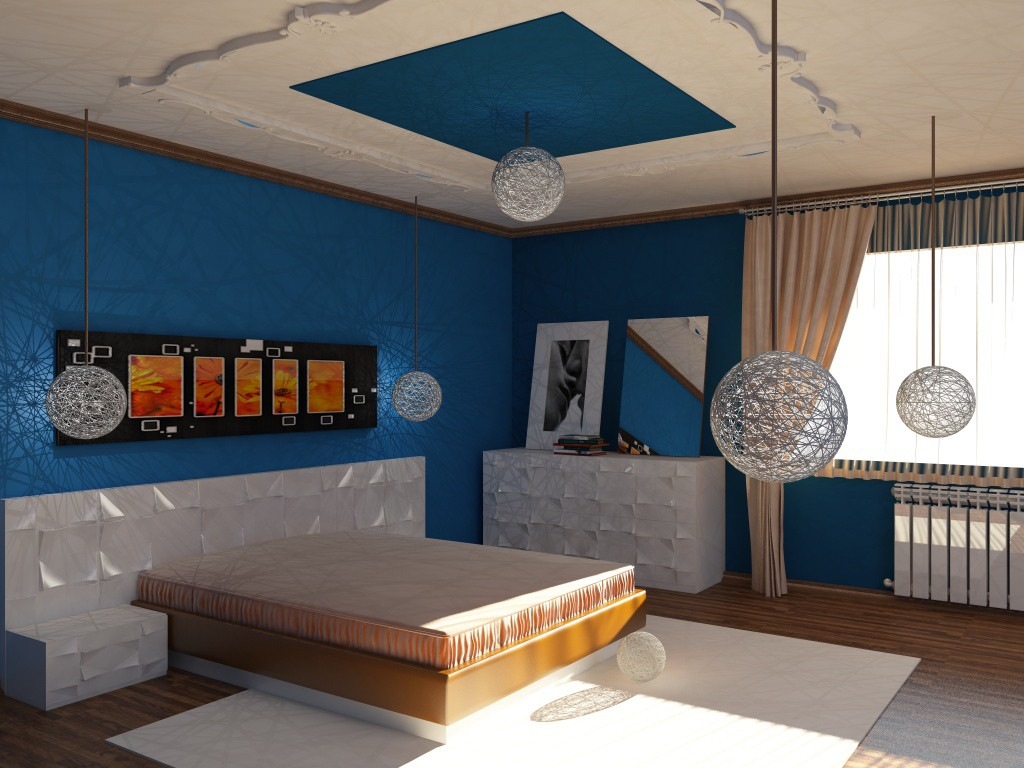 3d visualization of the project in the bedroom 3d max, render vray of meriamoo