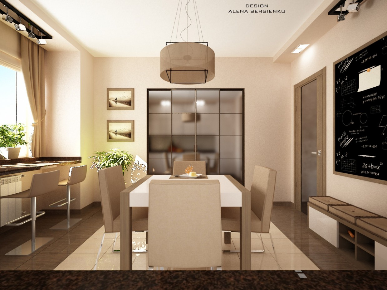 Kitchen with a board to practice with children in 3d max vray image