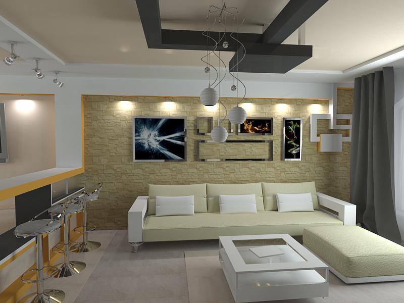 Вітальня + їдальня + кухня в 3d max vray зображення