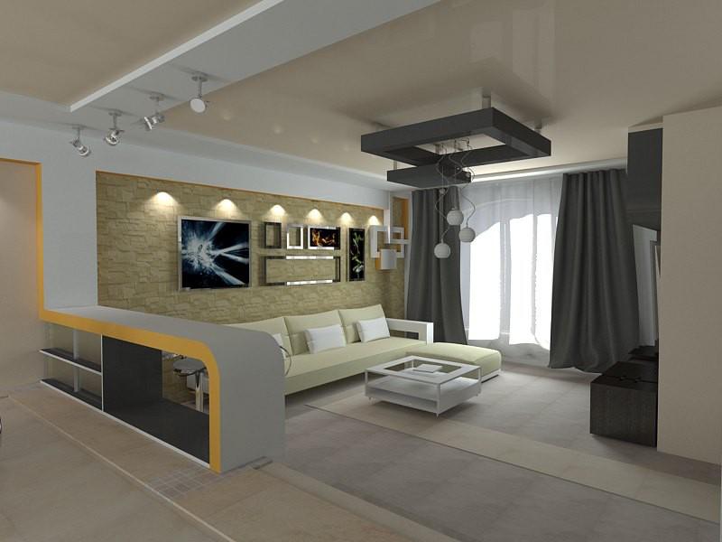 Гостиная + столовая + кухня в 3d max vray изображение
