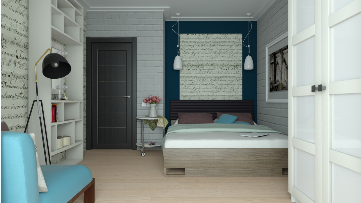 visualisation 3d chambre coucher pour un sportif actif jeune couple. Black Bedroom Furniture Sets. Home Design Ideas