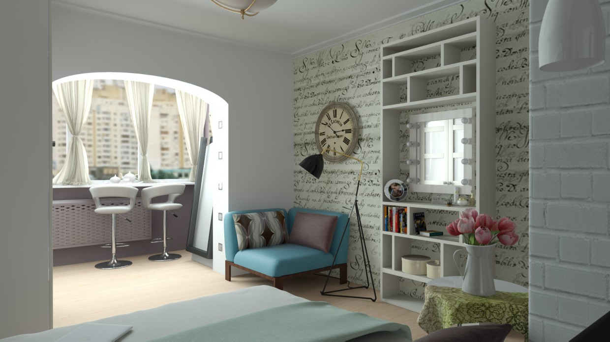Bedroom for a young couple active sports  in  3d max   vray  image