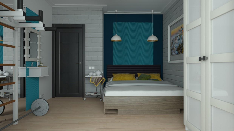 बेडरूम। 3d max vray में प्रस्तुत छवि