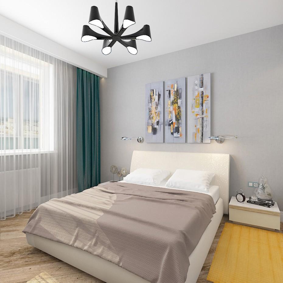 Спальная комната в новостройке в 3d max vray изображение