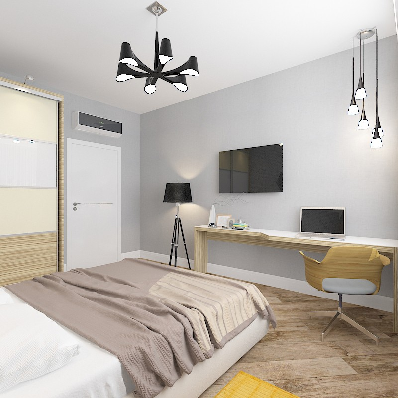 Bedroom in the new building in 3d max vray image