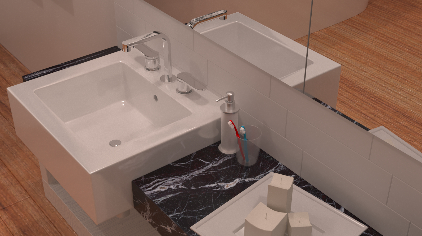 Visualization of the bathroom in 3d max corona render image