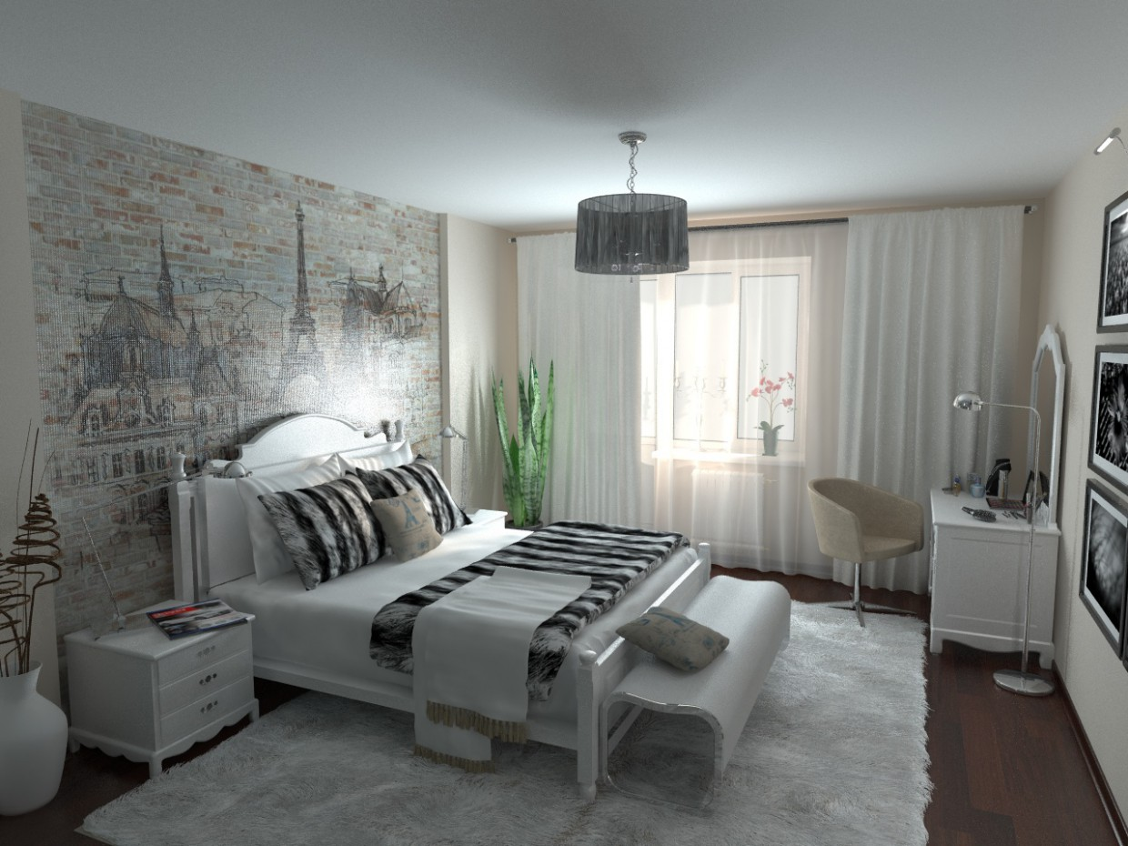 Bedroom modern Provence in 3d max vray image