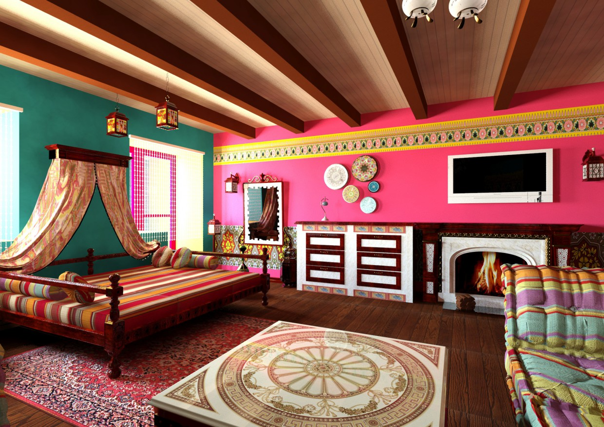 Apartments in Indian style in 3d max mental ray image