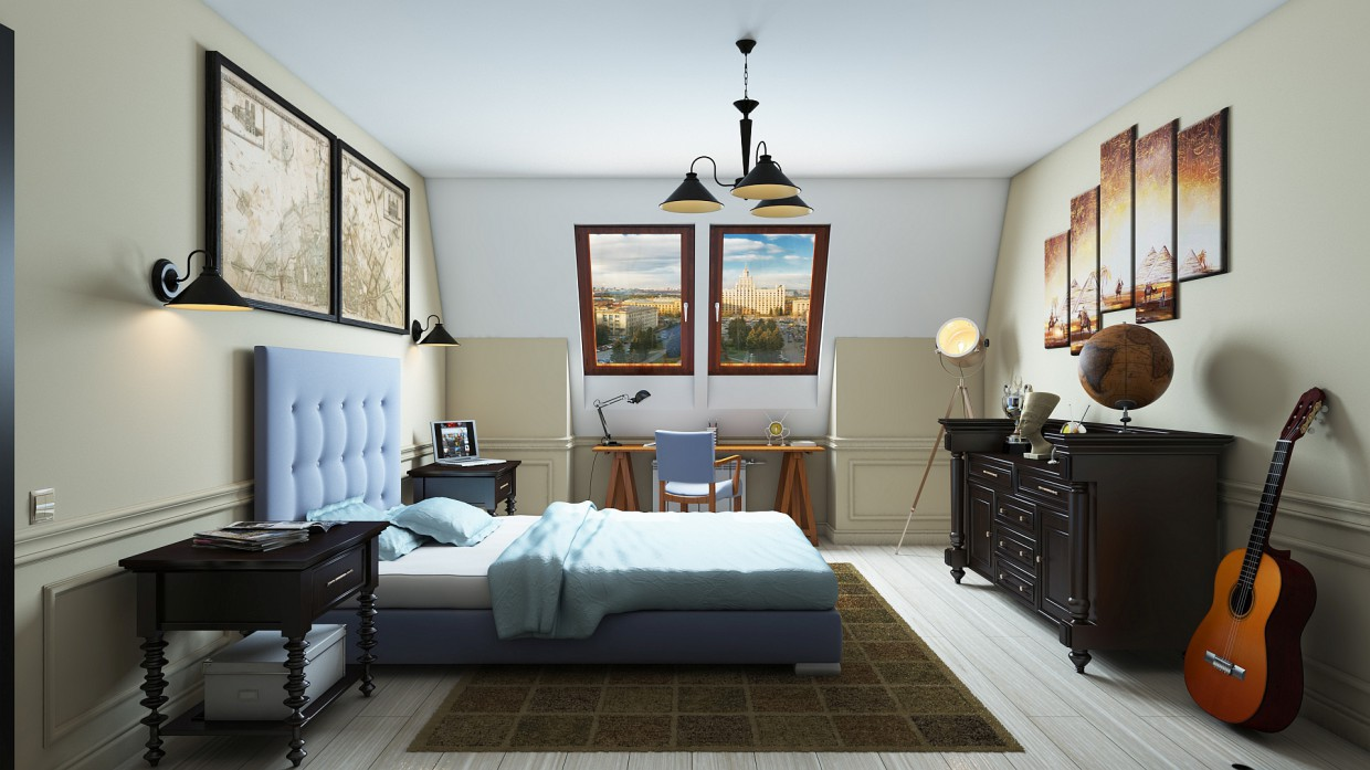 Bedroom researcher in 3d max vray image