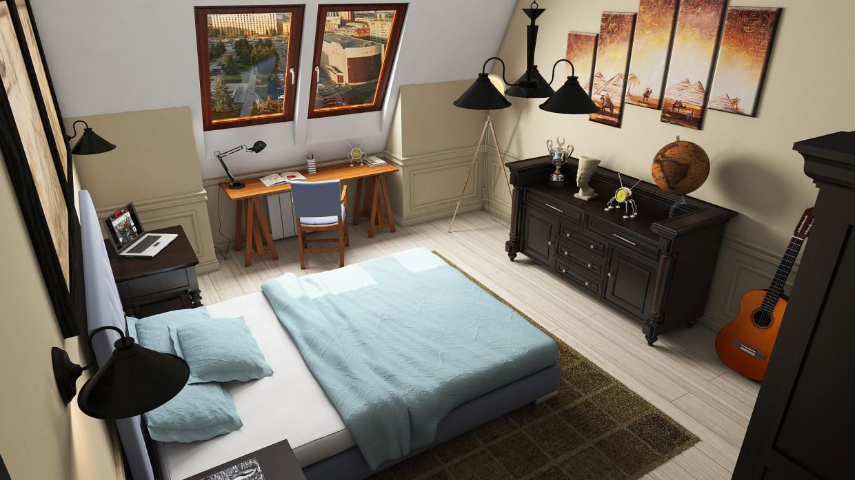 спальня иследователя в 3d max vray изображение