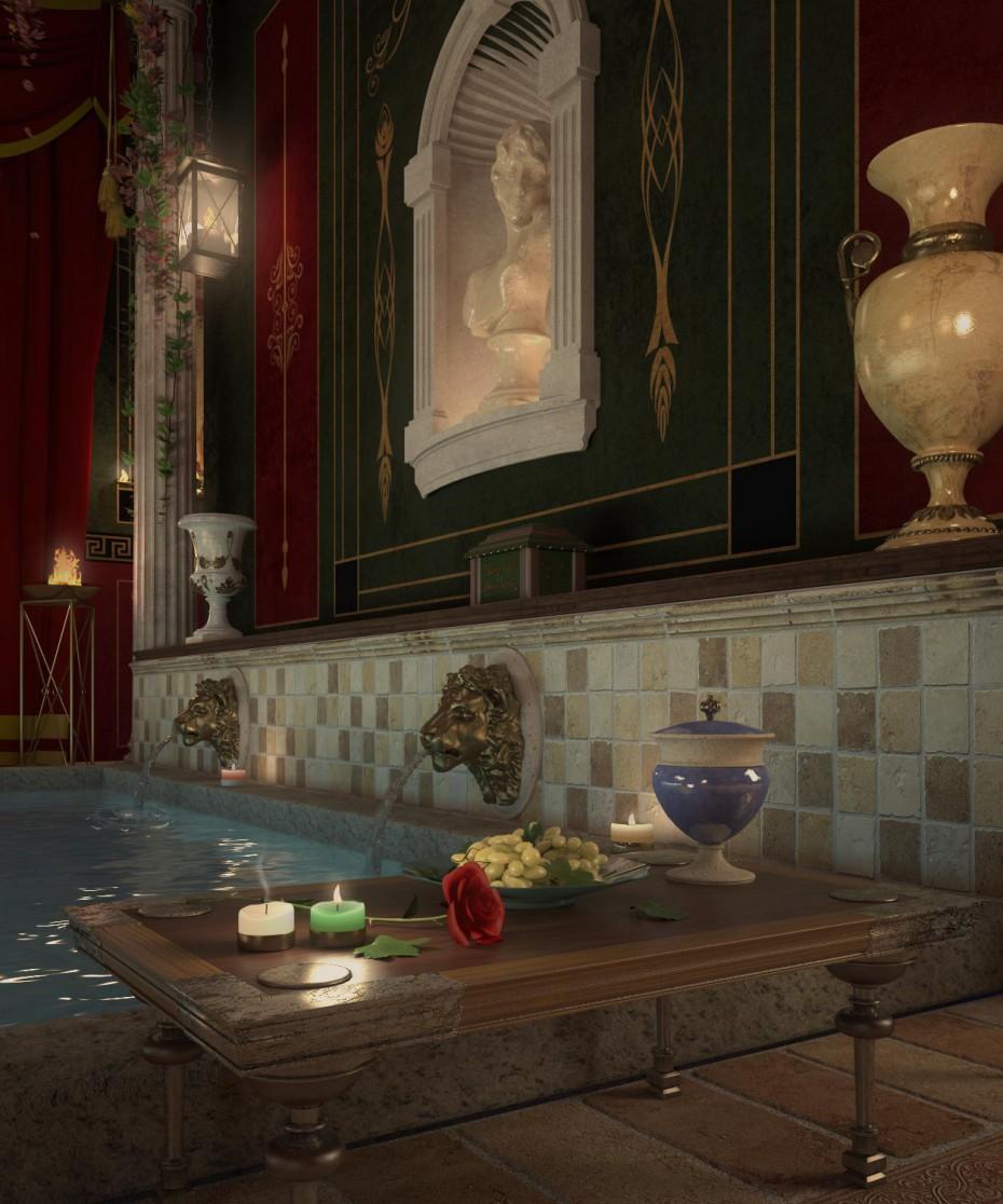Отдых в Римской бане в 3d max vray 2.5 изображение