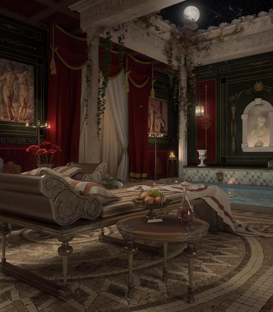 Recreation roman bath  in  3d max   vray 2.5  image