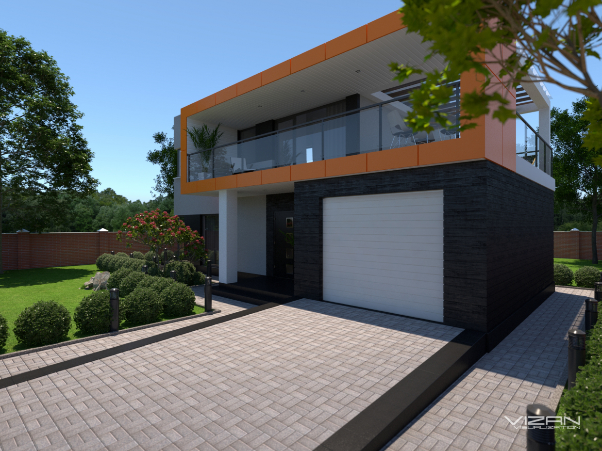Modern house in SketchUp vray 3.0 image