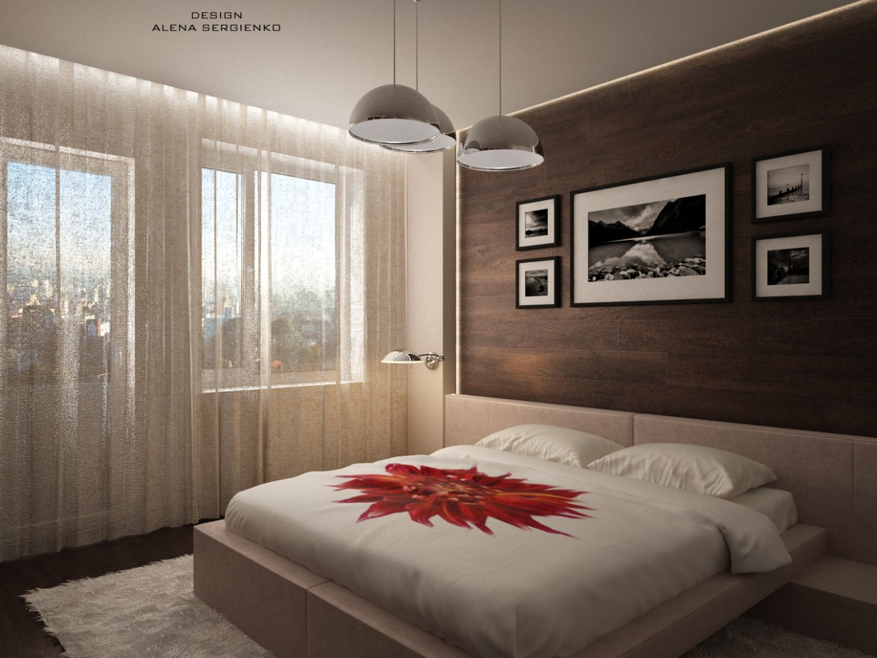 3d visualization of the project in the Bedroom 3d max, render vray of Элена