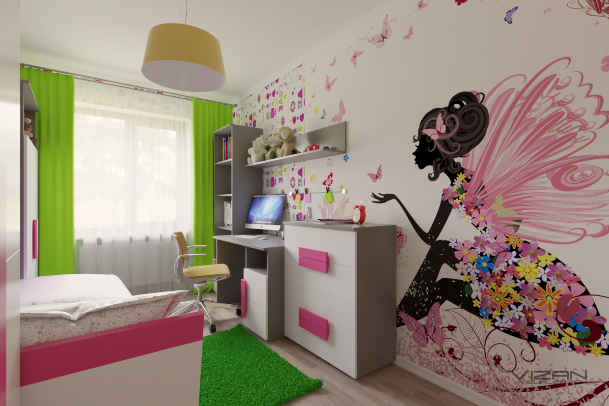 3d visualisierung kinderzimmer f r ein m dchen. Black Bedroom Furniture Sets. Home Design Ideas