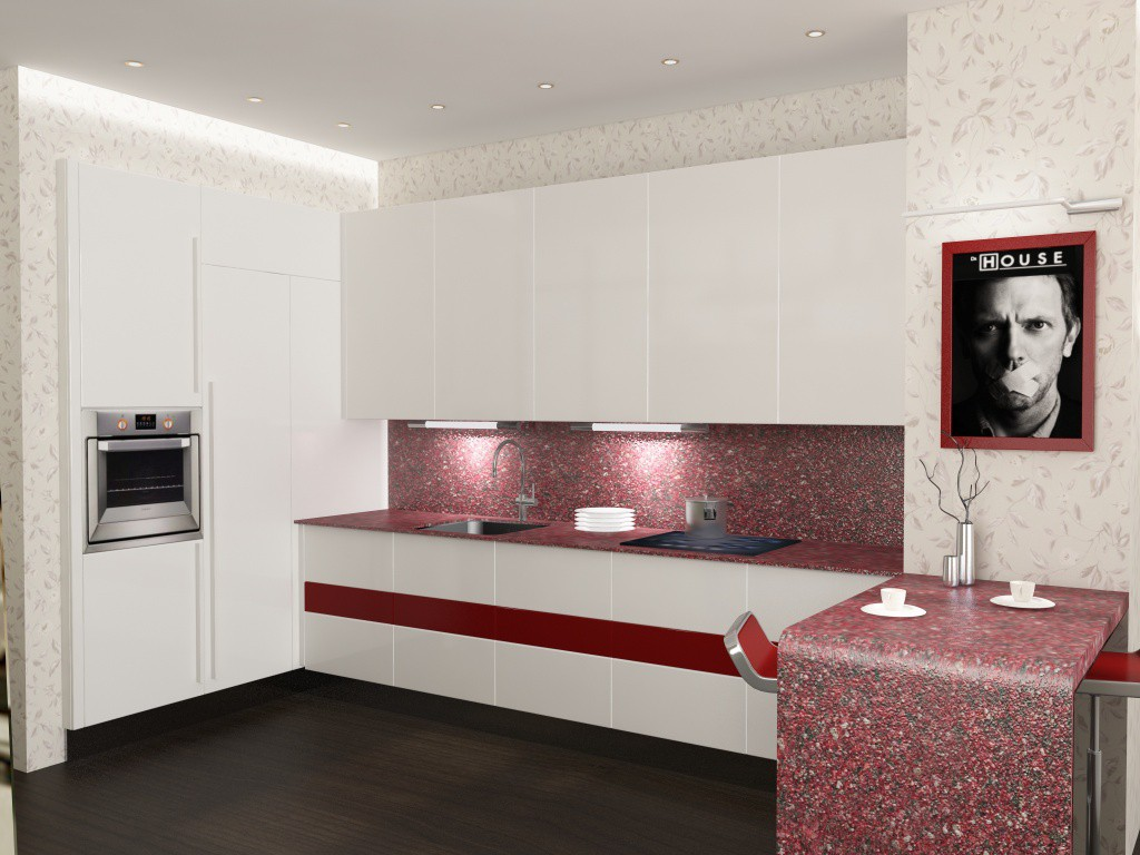 3d visualization of the project in the kitchen 3d max, render vray of meriamoo