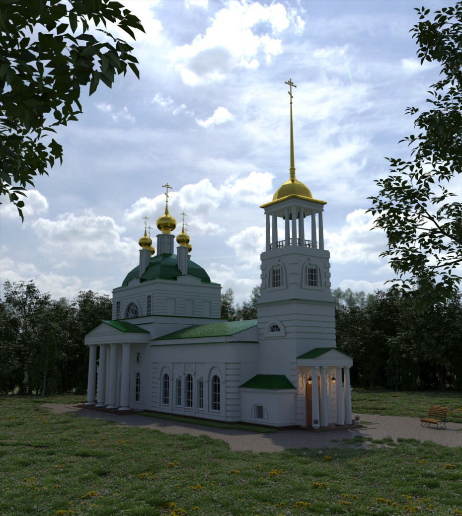 3d visualization of the project in the Church 3d max, render mental ray of Тоня