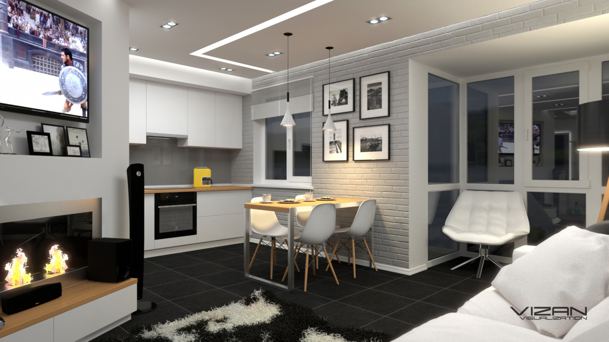 Kitchen studio in loft style in SketchUp vray 3.0 image