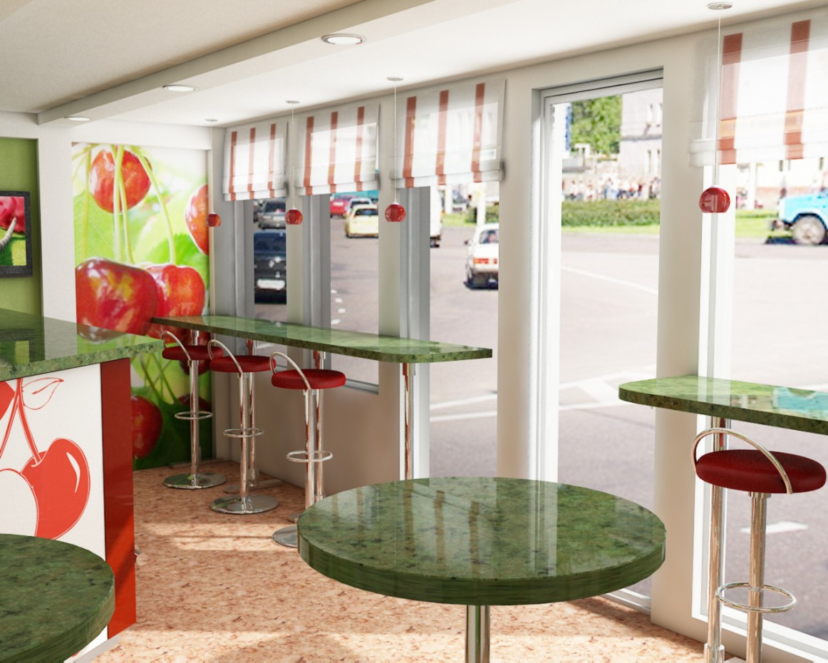 Bus stop Cafe in 3d max vray image