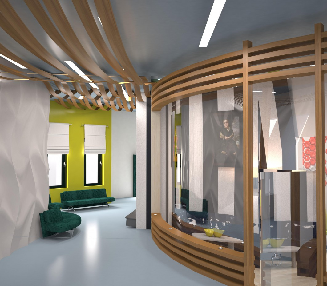 School for handicapped children in 3d max vray image