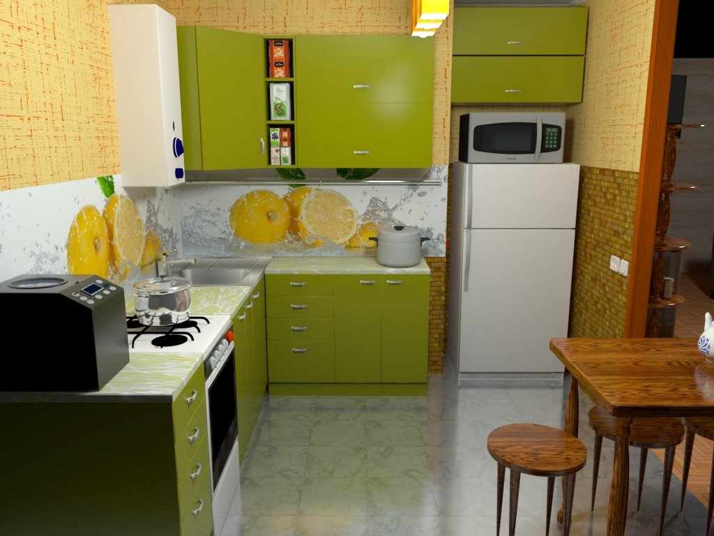 Variant of the color scheme of the kitchen in SketchUp vray 3.0 image