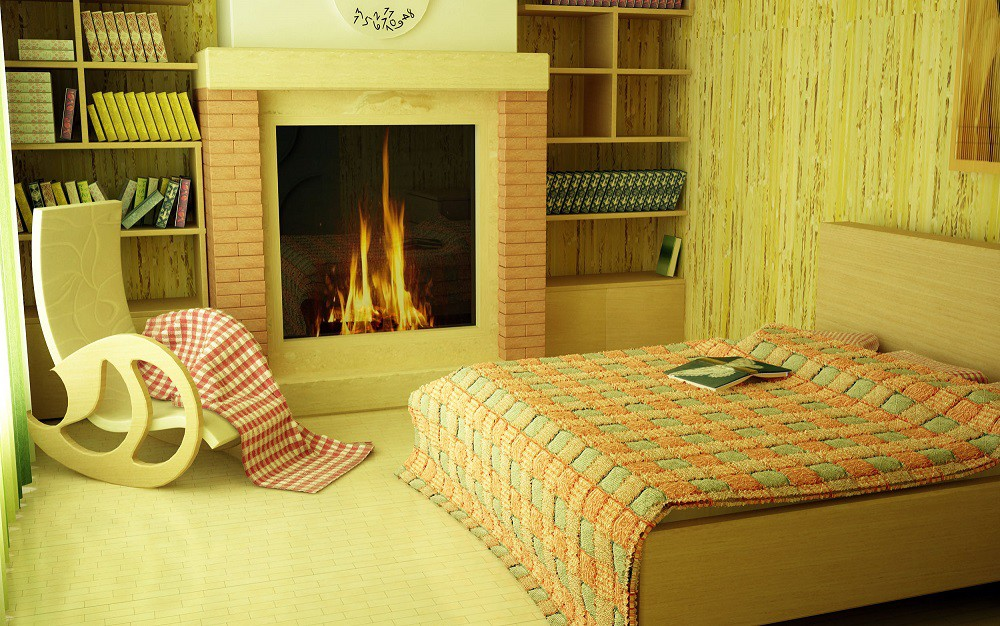 Suite with fireplace in 3d max vray image