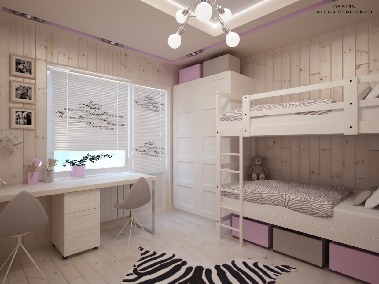 3d visualization of the project in the Room for girls 3d max, render vray of Элена