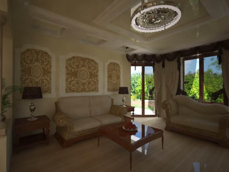 imagen de Cocina con comedor y sala de estar en una casa en 3d max vray