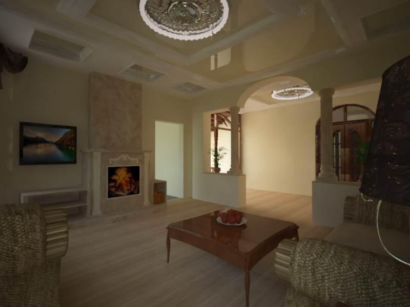 Кухня-столовая и гостинная в доме в 3d max vray изображение